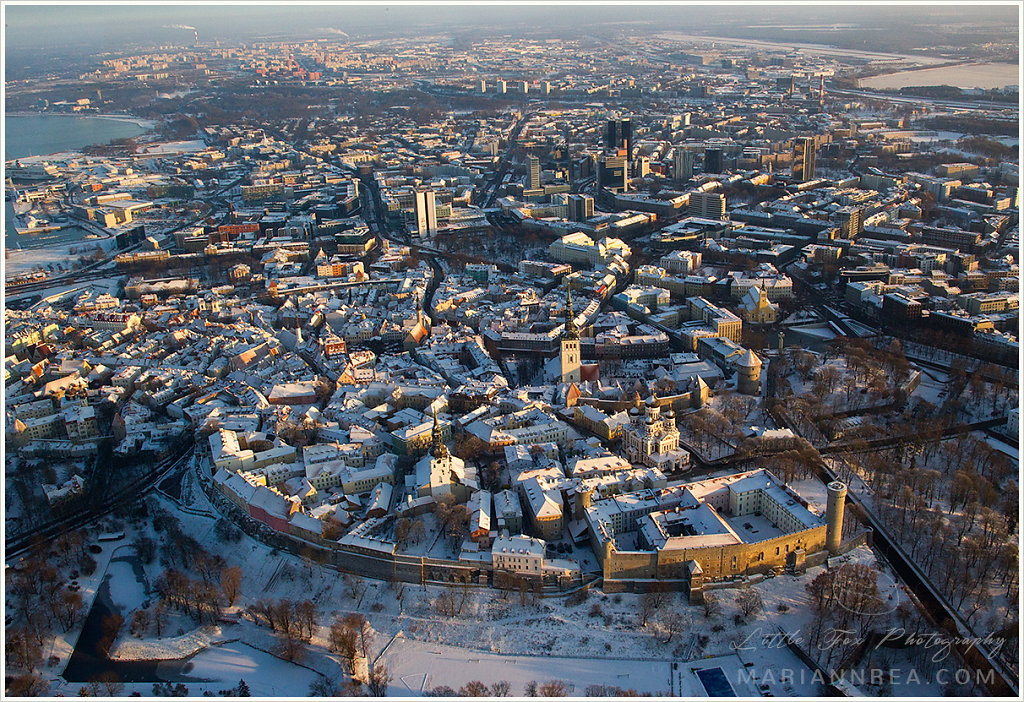 Aerial photo of winter in Tallinn
